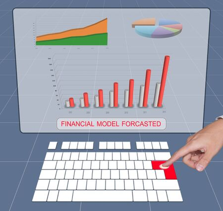 forcast: Hand press keyboard to analyst financial forecast Stock Photo