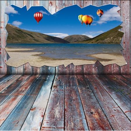 Beautiful landscape outside wooden room photo