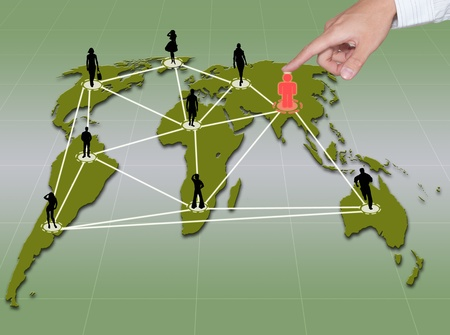 hand point to social network connection on world map