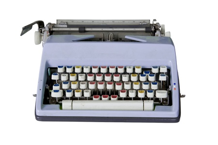 Old dirty Retro typewriter with clipping path isolated on white Stock Photo - 10785321