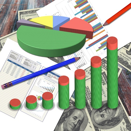 Business graph on the dollars and business document