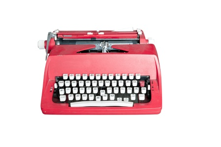Red dirty Retro typewriter isolated  on white