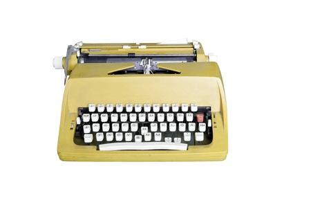 Yellow dirty Retro typewriter isolated  on white Stock Photo - 10846647