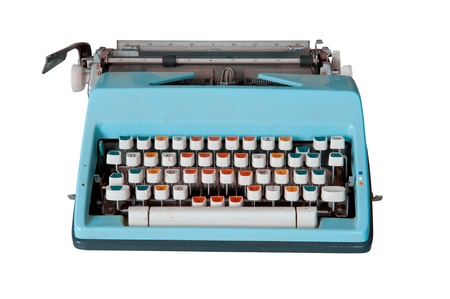 Blue dirty Retro typewriter isolated  on white Stock Photo - 10846652