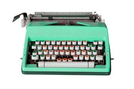 Green dirty Retro typewriter isolated  on white photo