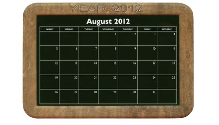2012 August calendar on retro style blackboard Stock Photo