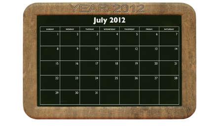 2012 July calendar on retro style blackboard