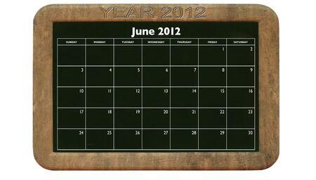2012 June calendar on retro style blackboard Stock Photo