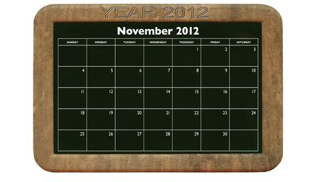 2012 November calendar on retro style blackboard photo