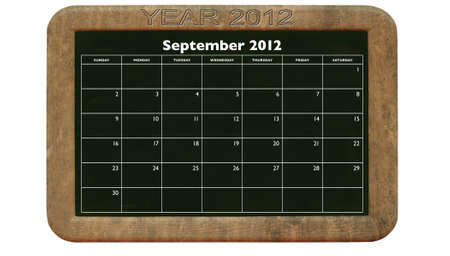 2012 September calendar on retro style blackboard Stock Photo