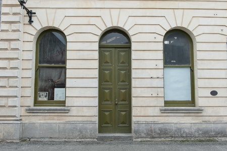 oldtown: Abandon buildind with door Stock Photo