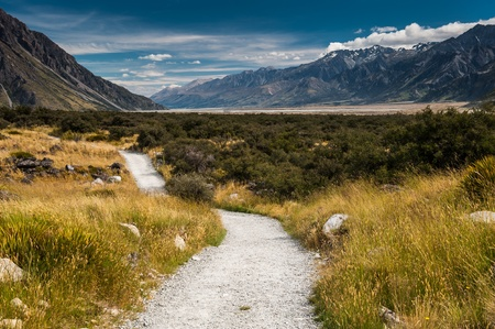 Road to Mt. Cook, New Zealand national park photo