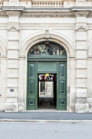buliding: Historic buliding with green door