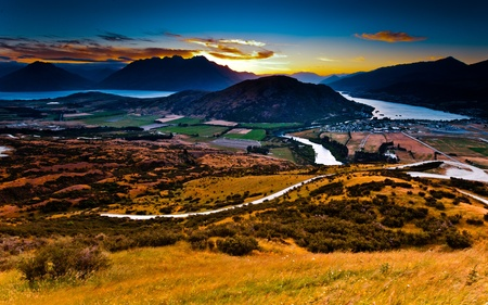 Aerial view of Queenstown, New Zealand photo