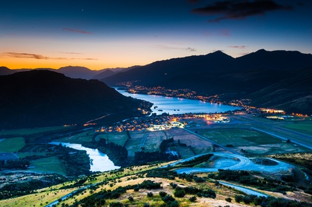 aerial city: Aerial view of Queenstown, New Zealand