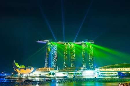 SINGAPORE -DEC 25  Laser show at The Marina Bay Sands complex  Singapore  Marina Bay Sands is an integrated resort and the world