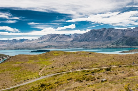 lofty: Aerial view of Lake Tekapo and Southern Alps, New Zealand