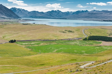Aerial view of Lake Tekapo and Southern Alps, New Zealand photo