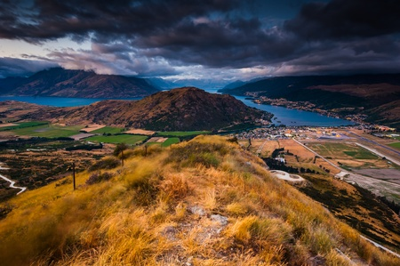 Aerial view of Queenstown with lake Wakatipu at dawn Stock Photo - 13750747