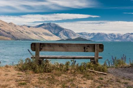 new scenery: Single bench at Beautiful Wakatiup Lake, New Zealand