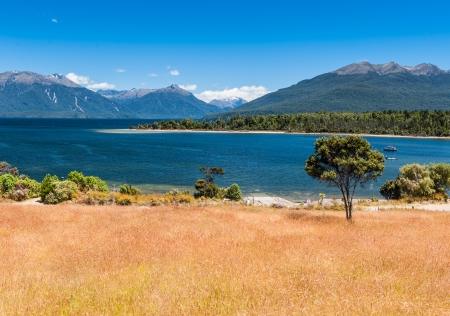 Te: Beautiful turquoise lake, Lake Te Anau, New Zealand