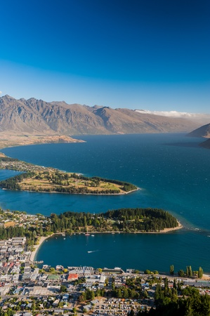 Aerial view of Queenstown with lake Wakatipu photo