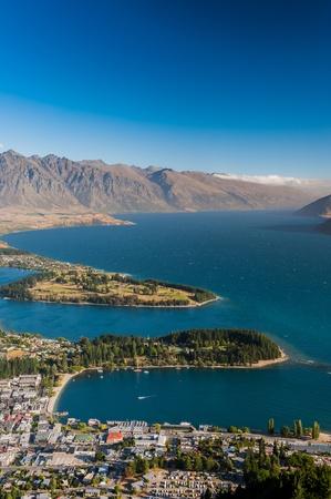 wakatipu: Aerial view of Queenstown with lake Wakatipu Stock Photo