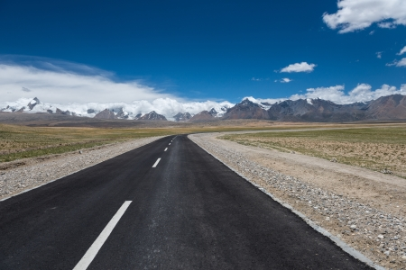 Road to Himalayas range, Tibet photo
