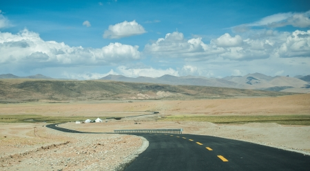 Curve road at Tibet photo