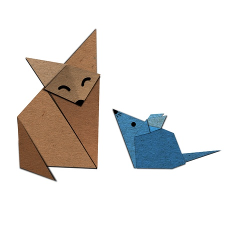 Origami of fox and rat form recycled paper photo