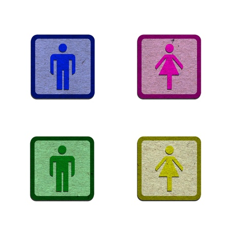 WC sign form recycled paper Stock Photo - 14956186