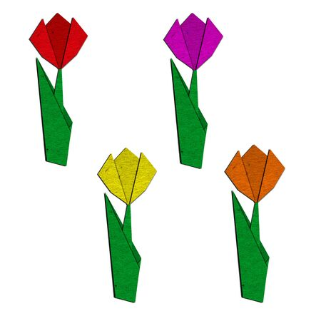 asian tulips: Origami of colorful tulip from recycled paper Stock Photo