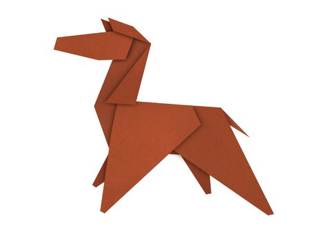 Origami of brown Pony form recycled paper isolated on white photo