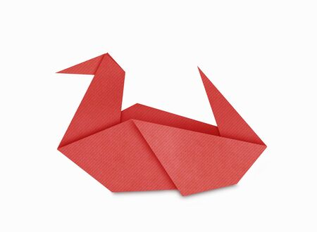 Origami of red Duck form recycled paper isolated on white photo