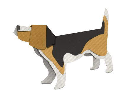 Origami of Beagle form recycled paper photo