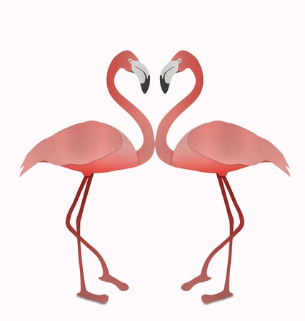Flamingo make heart sigh from recycled paper isolated on white Stock Photo - 15115280