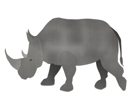 African Rhino form recycled paper isolated on white photo
