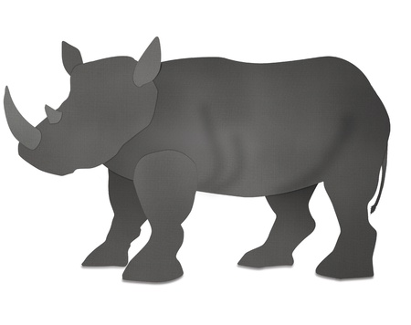 Ancient African Rhino form recycled paper isolated on white photo