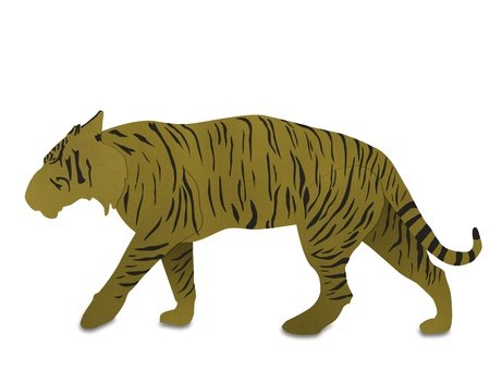 endanger: Bengal tiger from recycled paper isolated on white