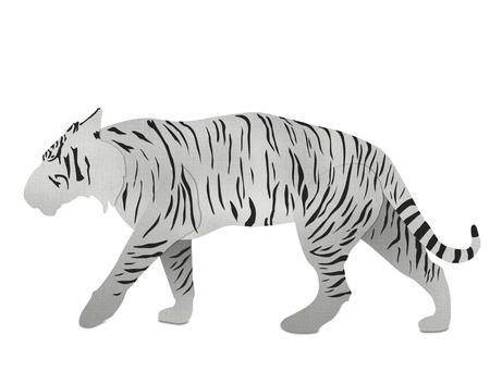 White Bengal tiger from recycled paper isolated on white photo