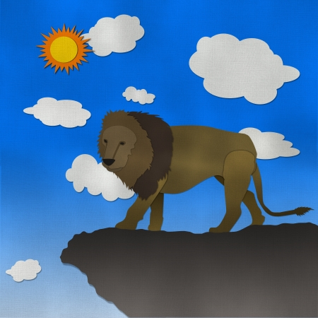 cliff edge: Lion of the cliff form recycled paper Stock Photo