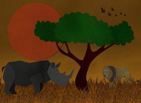 grasslands: Sunset scene of african safari form paper art