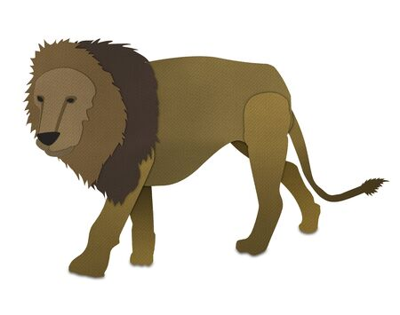 male Lion form paper art isolated on white Stock Photo - 15115271