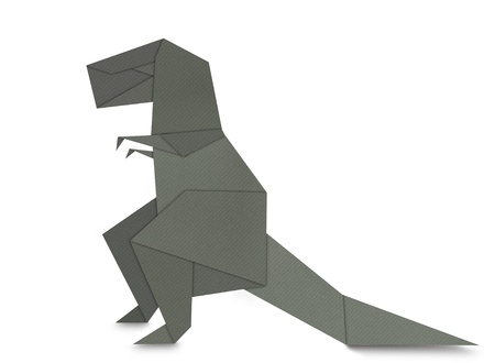 Origami of Tyrannosaurus rex form recycled paper isolated on white photo