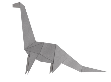 Origami of Brontosaurus form recycled paper isolated on white photo