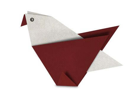 Origami of brown bird form recycled paper isolated on white photo