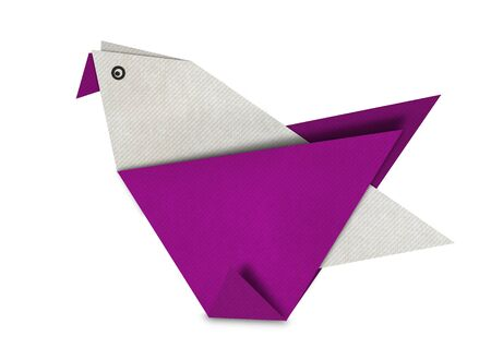 Origami of pink Bird form recycled paper isolated on white photo