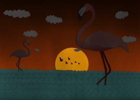 Sunset scene with Flamingo from recycled paper Stock Photo - 15115256