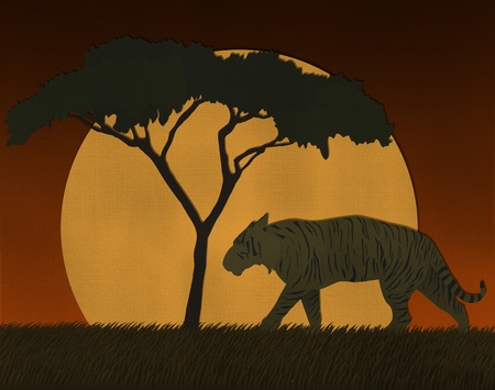 Sunset scene at Africa safari made from recycled paper photo