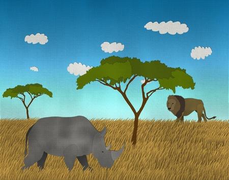 African safari with Lion and Rhino  photo